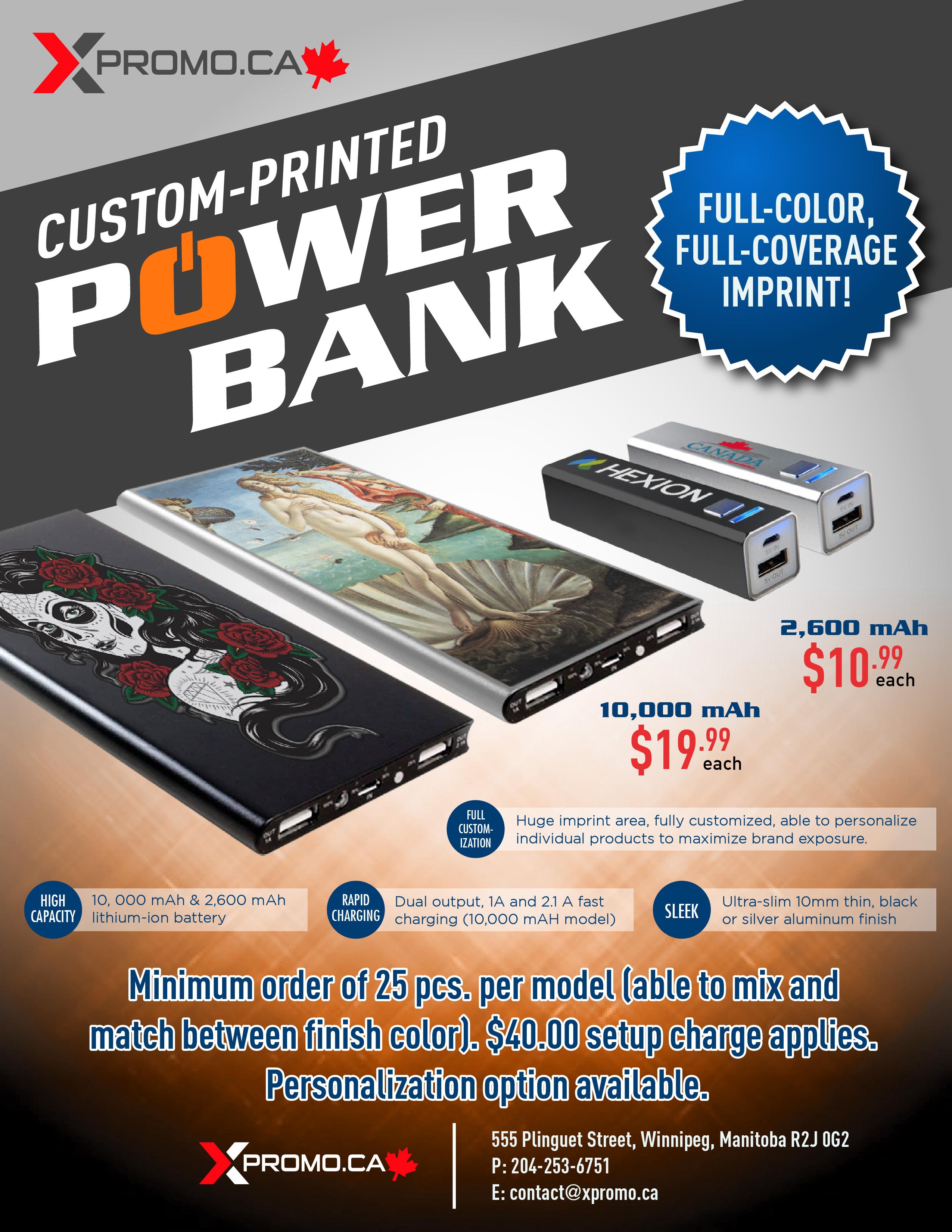 a270170c Custom Printed Power Banks (Minimum order of 25 pcs mix'n'match ...