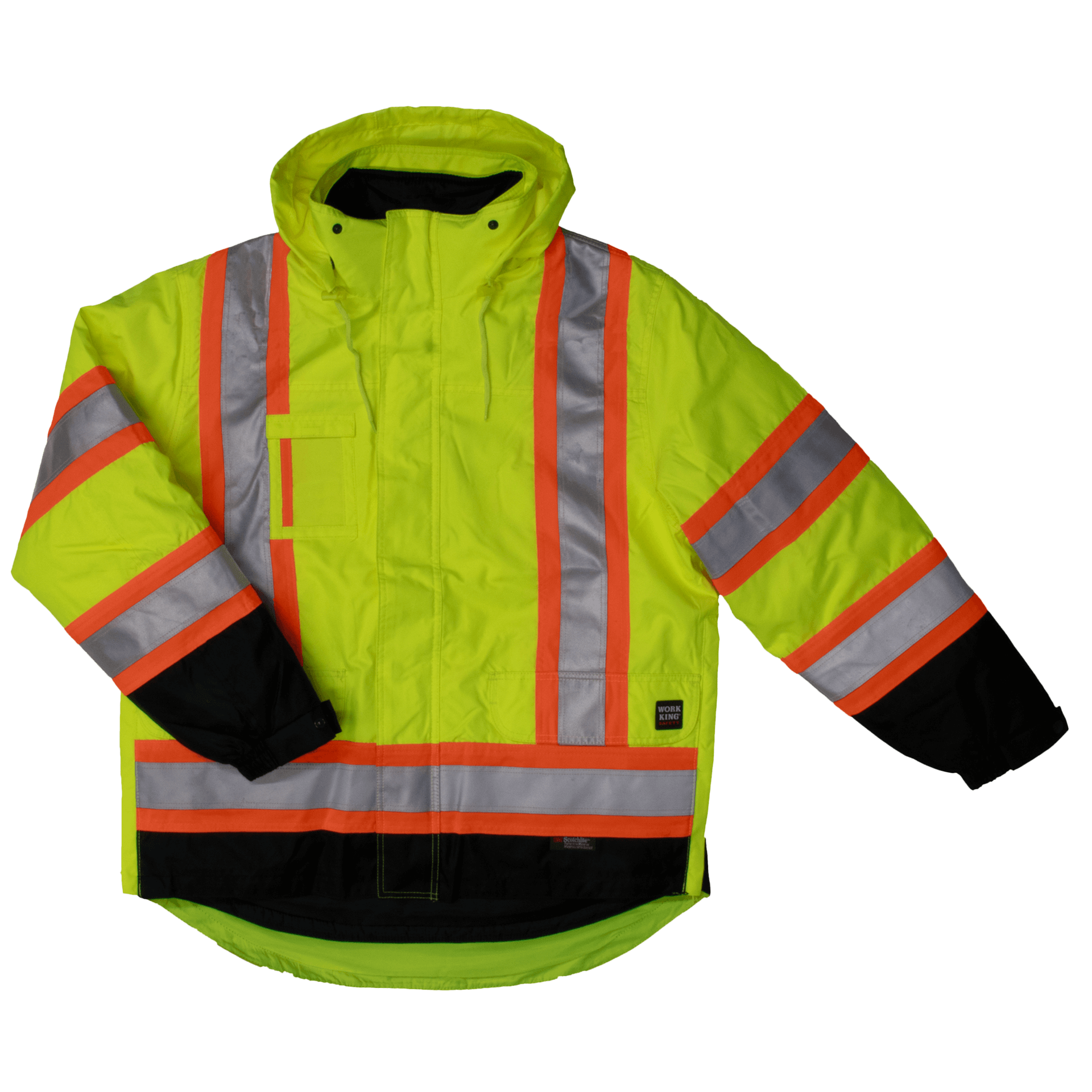 S426-FLGR-F-Work-King-Safety-by-Tough-Duck-Mens-5-in-1-Safety-Jacket-Fluorescent-Green-Front