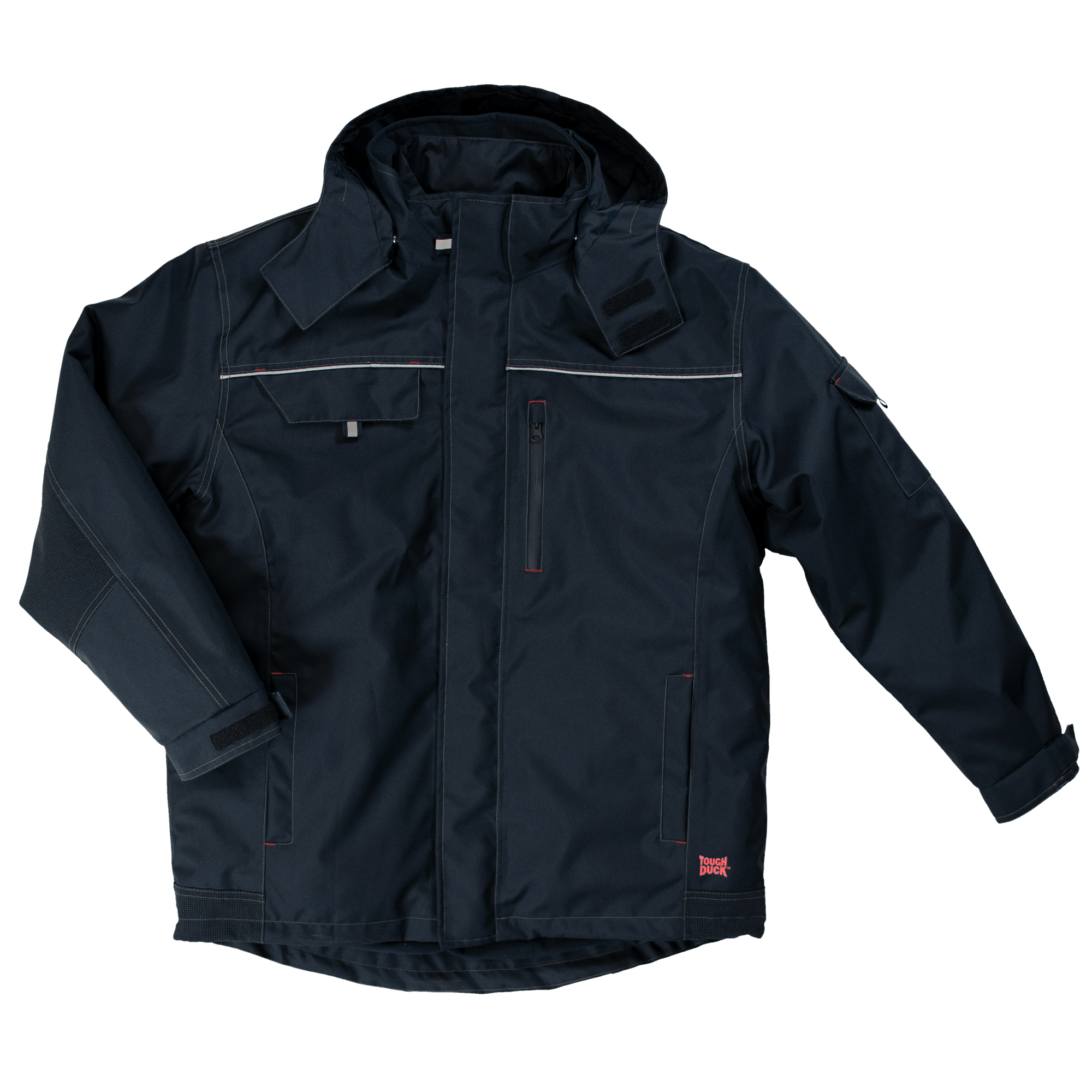 WJ14-NAVY-F-Tough-Duck-Mens-Poly-Oxford-3-in-1-Parka-Navy-Front