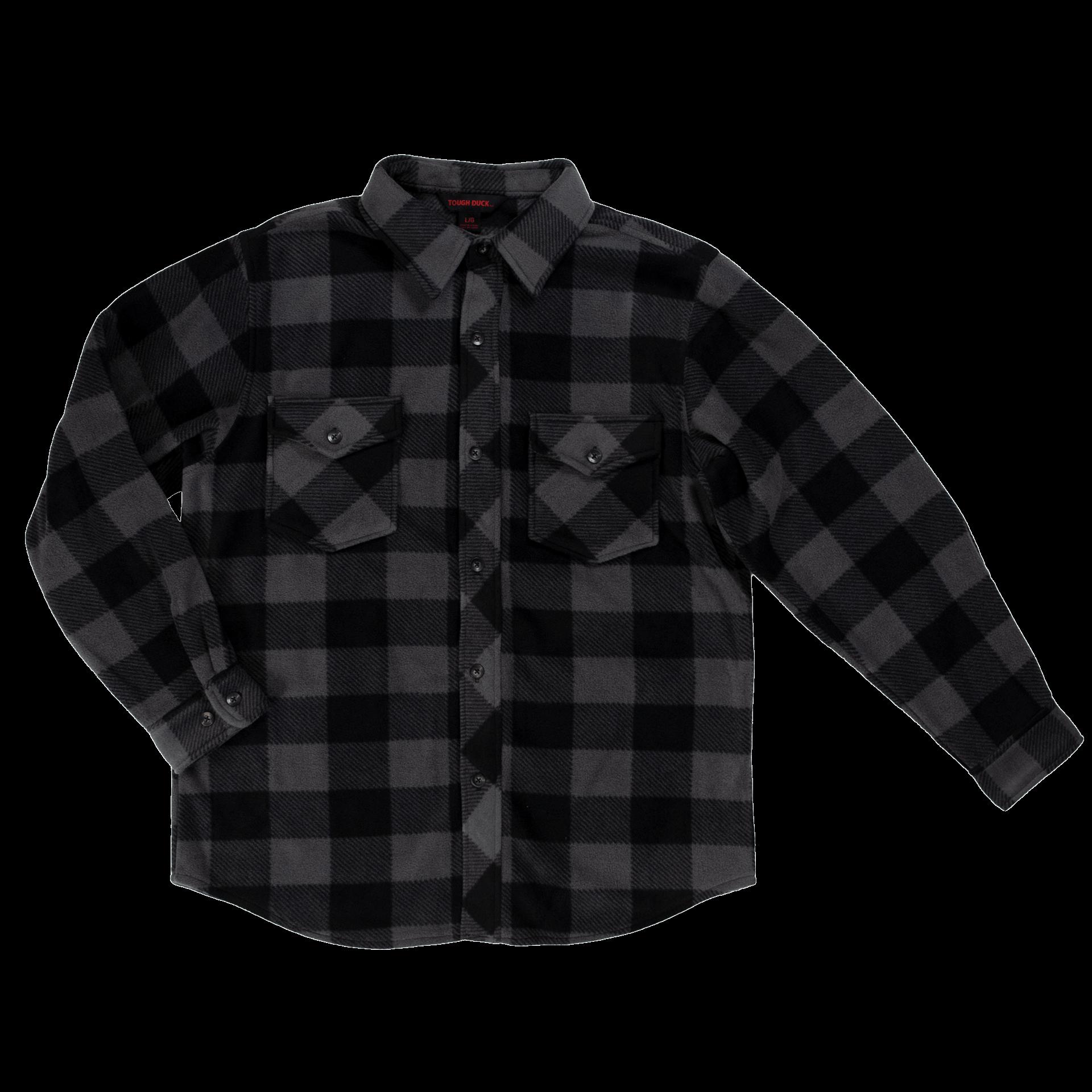 i964-GREY-F-Tough-Duck-Buffalo-Check-Fleece-Shirt-Grey-Check-Front