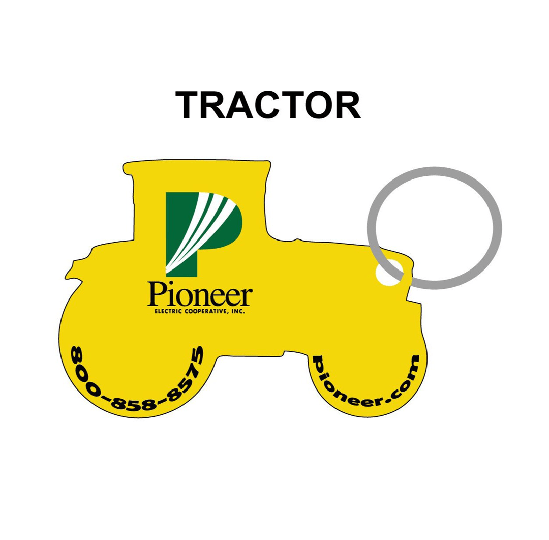 Custom-Printed Agricultural Key Chain - Tractor Outline